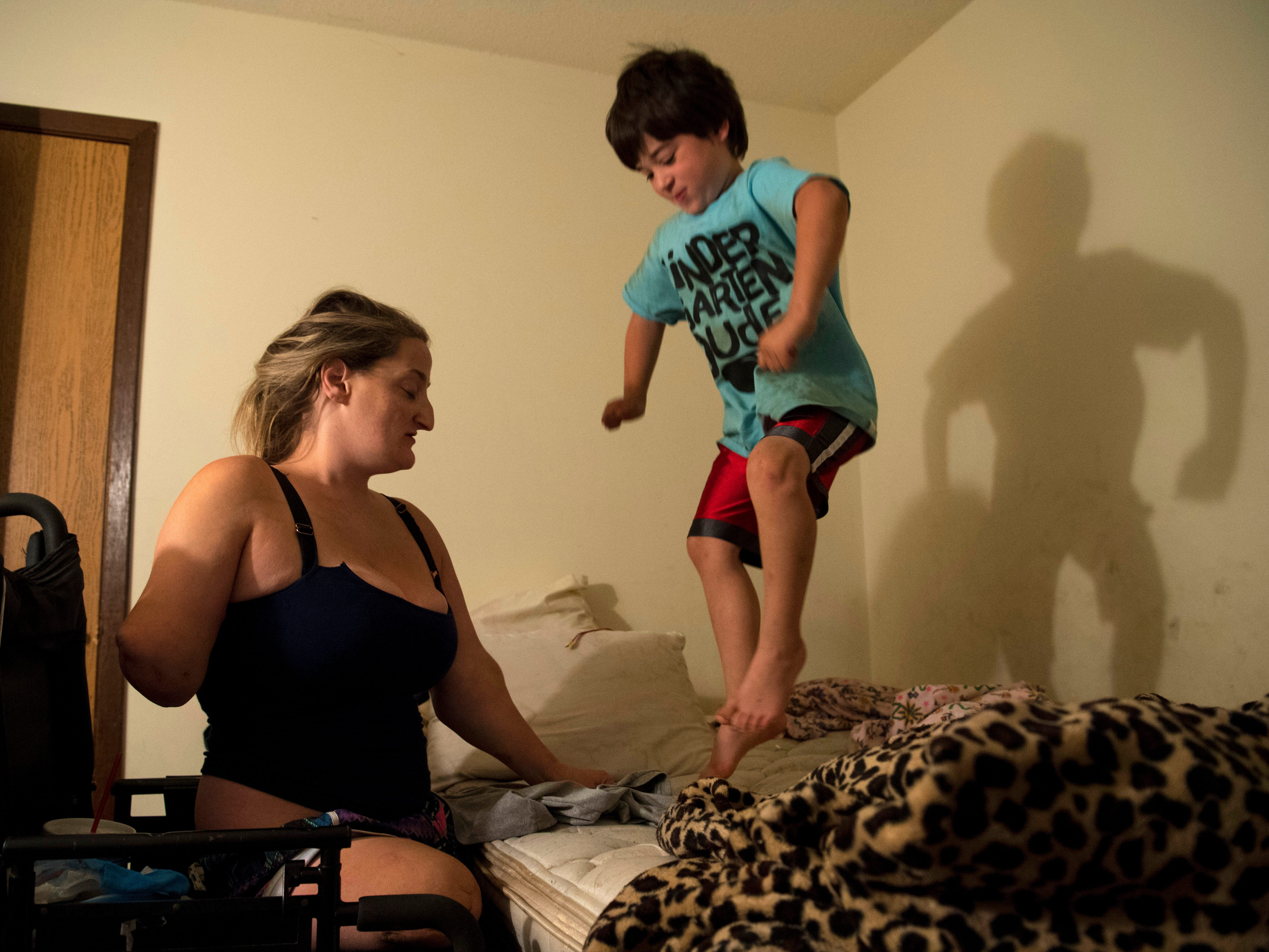 Amanda tries to get Leland ready for school after having to rip the covers off him to get him moving in September of 2017. It is hard enough getting a kid out of bed in the morning, but when it is still dark outside, it only makes it a greater challenge.