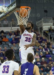 UE's John Hall (35) slams the ball into the basket during the University of Evansville vs Kentucky Wesleyan exhibition game at the Ford Center Thursday Nov. 15, 2018.
