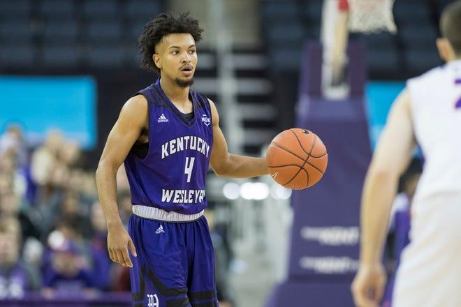 Kentucky Wesleyan's Erik Bell (4) looks for a open teammate during the University of Evansville vs Kentucky Wesleyan exhibition game at the Ford Center Thursday Nov. 15, 2018.