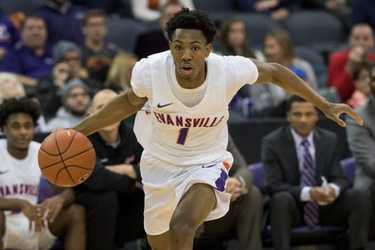UE's Marty Hill (1) dribbles the ball down court during the University of Evansville vs Kentucky Wesleyan exhibition game at the Ford Center Thursday Nov. 15, 2018.