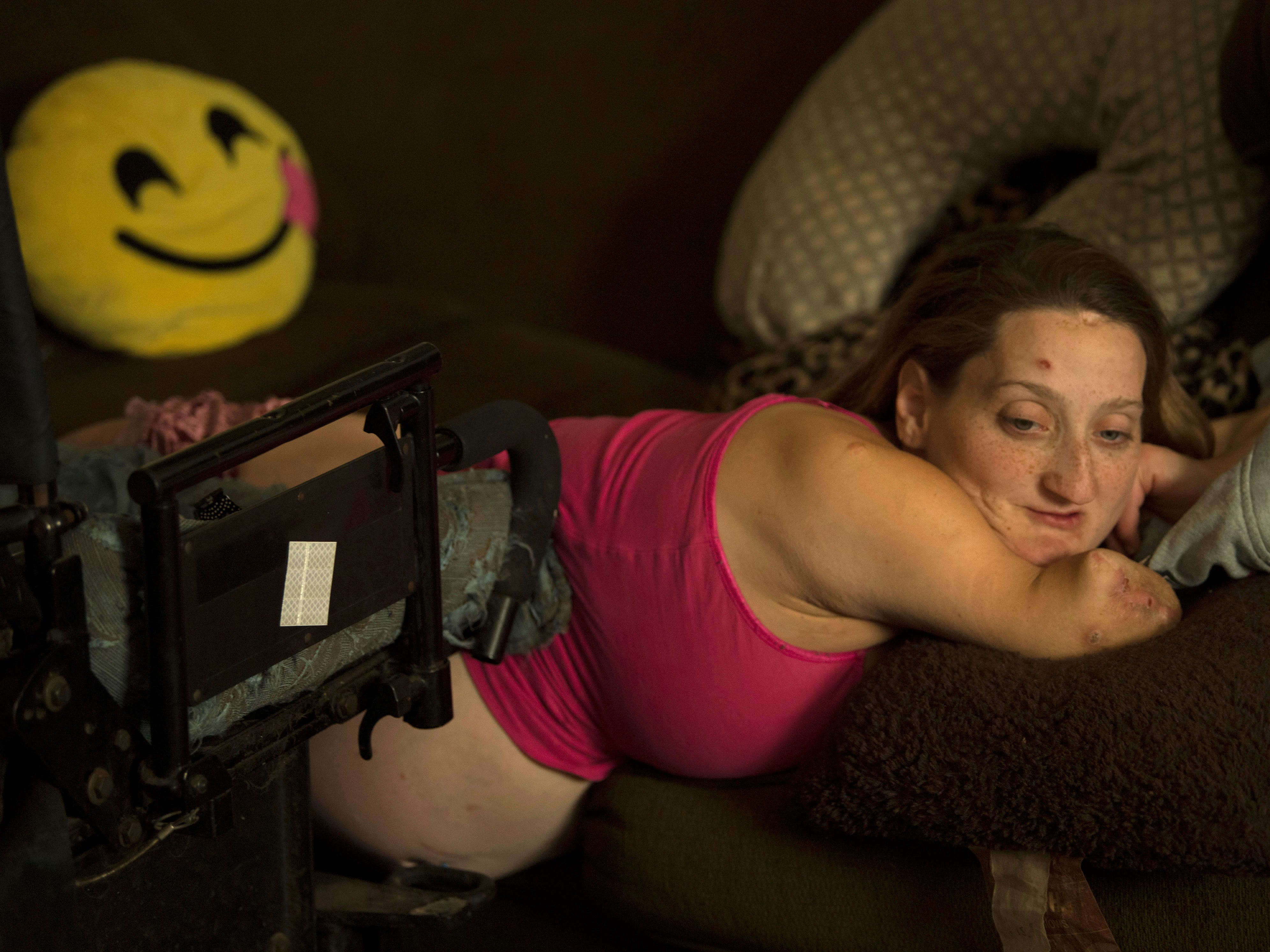 Amanda Smith tries to get comfortable on her couch 36 weeks into her second pregnancy in September of 2018. She gave birth to Ashley Denise eight days later on Sept. 21, 2018.