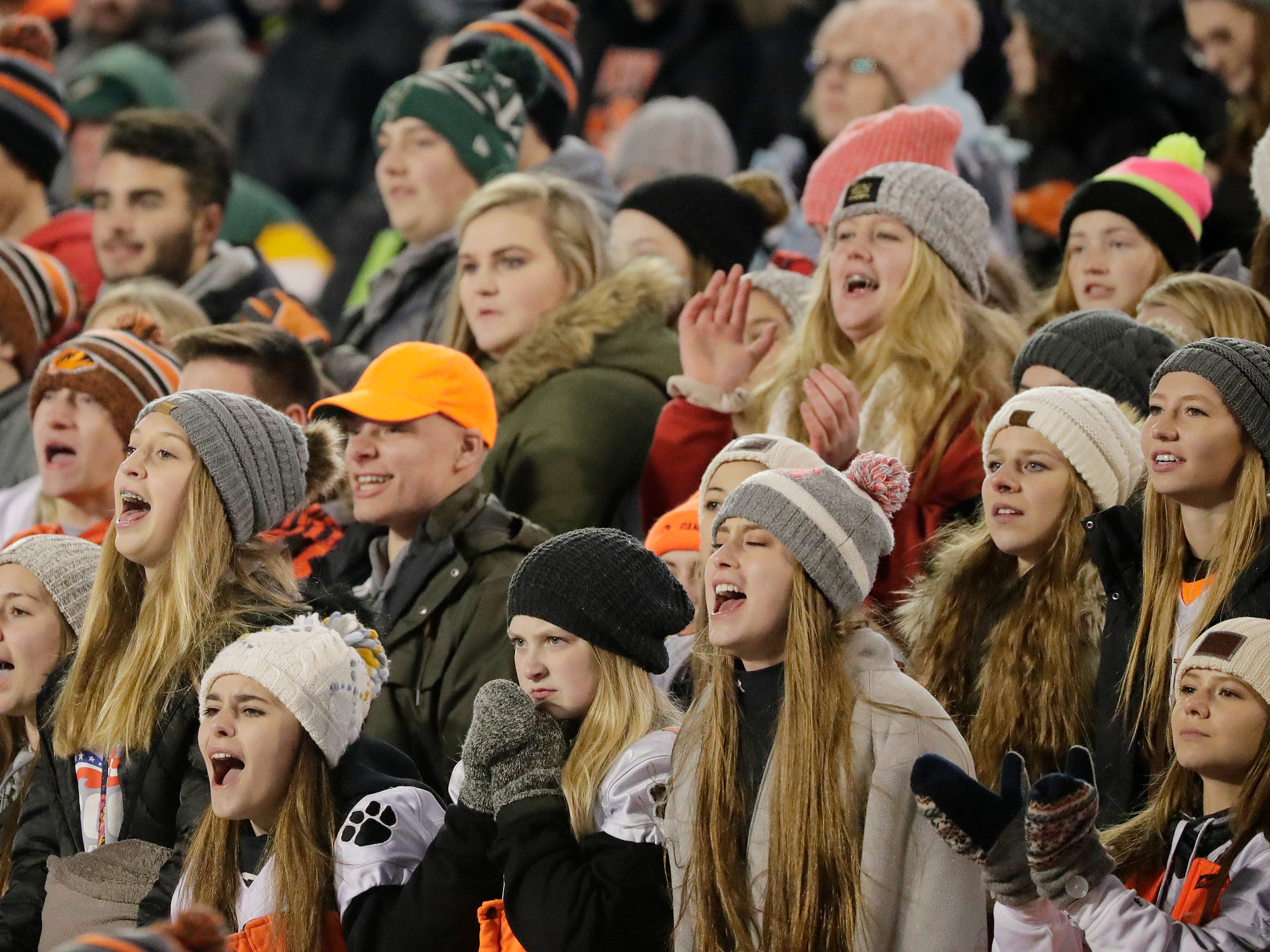 Stratford fans cheer during the second half against St Mary's Springs Academy in the WIAA Division 5 championship game at Camp Randall Stadium on Thursday, November 15, 2018 in Madison, Wis.