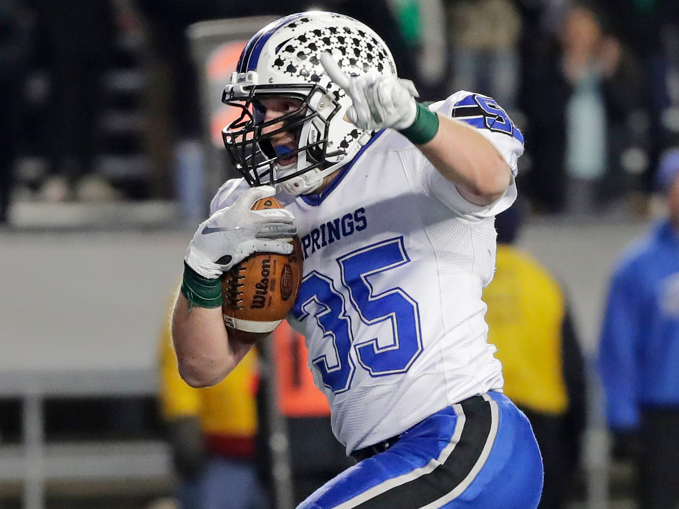 St Mary's Springs Academy's Marcus Orlandoni (35) rushes for a touchdown against Stratford in the WIAA Division 5 championship game at Camp Randall Stadium on Thursday, November 15, 2018 in Madison, Wis.
