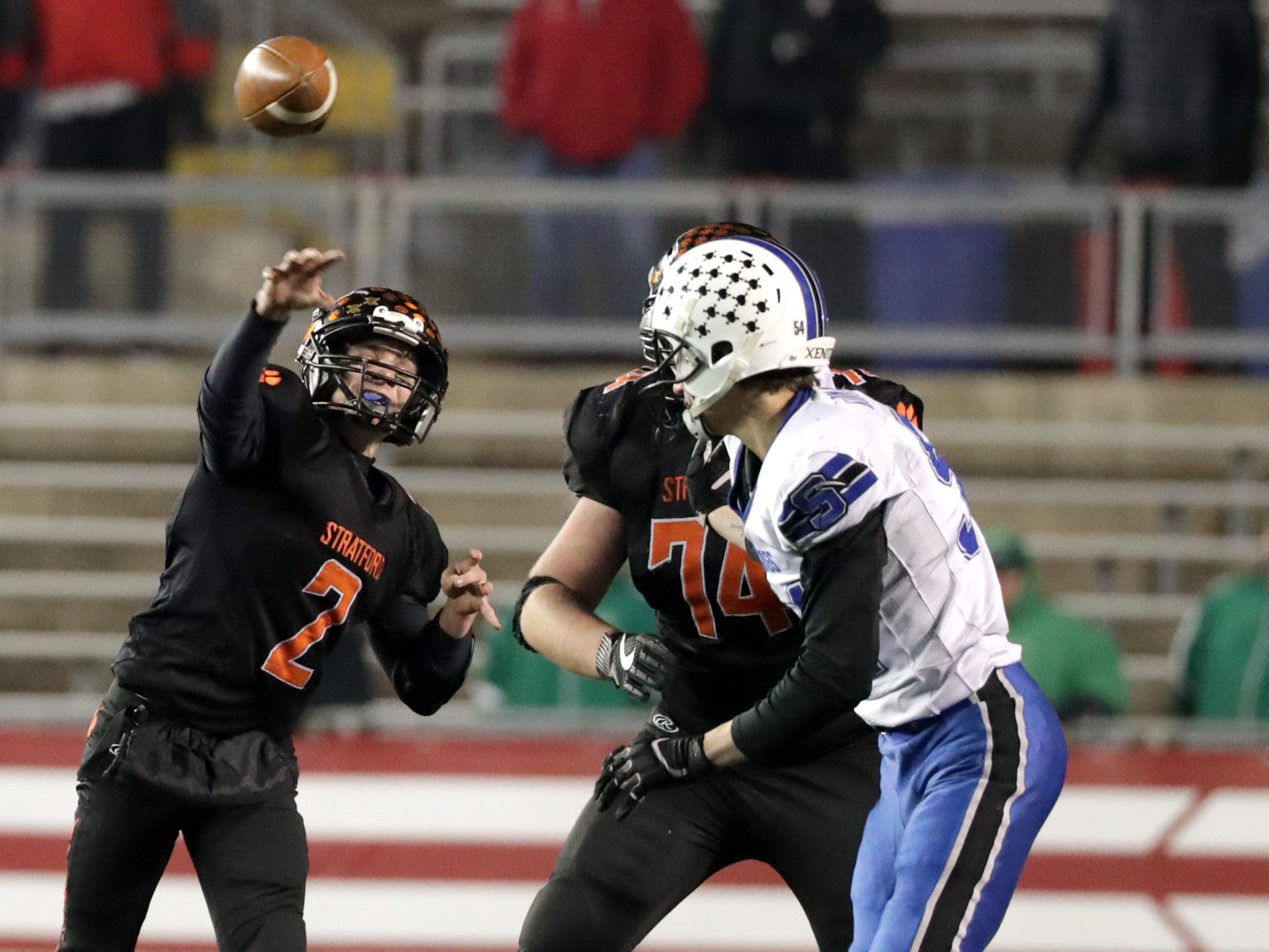 Stratford High School's #2 Max Schwabe against St. Mary's Springs Academy during the WIAA Division  5 state championship football game on Thursday, November 15, 2018, at Camp Randall in Madison, Wis.