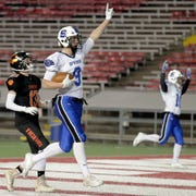St Mary's Springs' Cade Christensen (9) catches a touchdown pass against Stratford in the WIAA Division 5 championship game Thursday at Camp Randall Stadium in Madison.