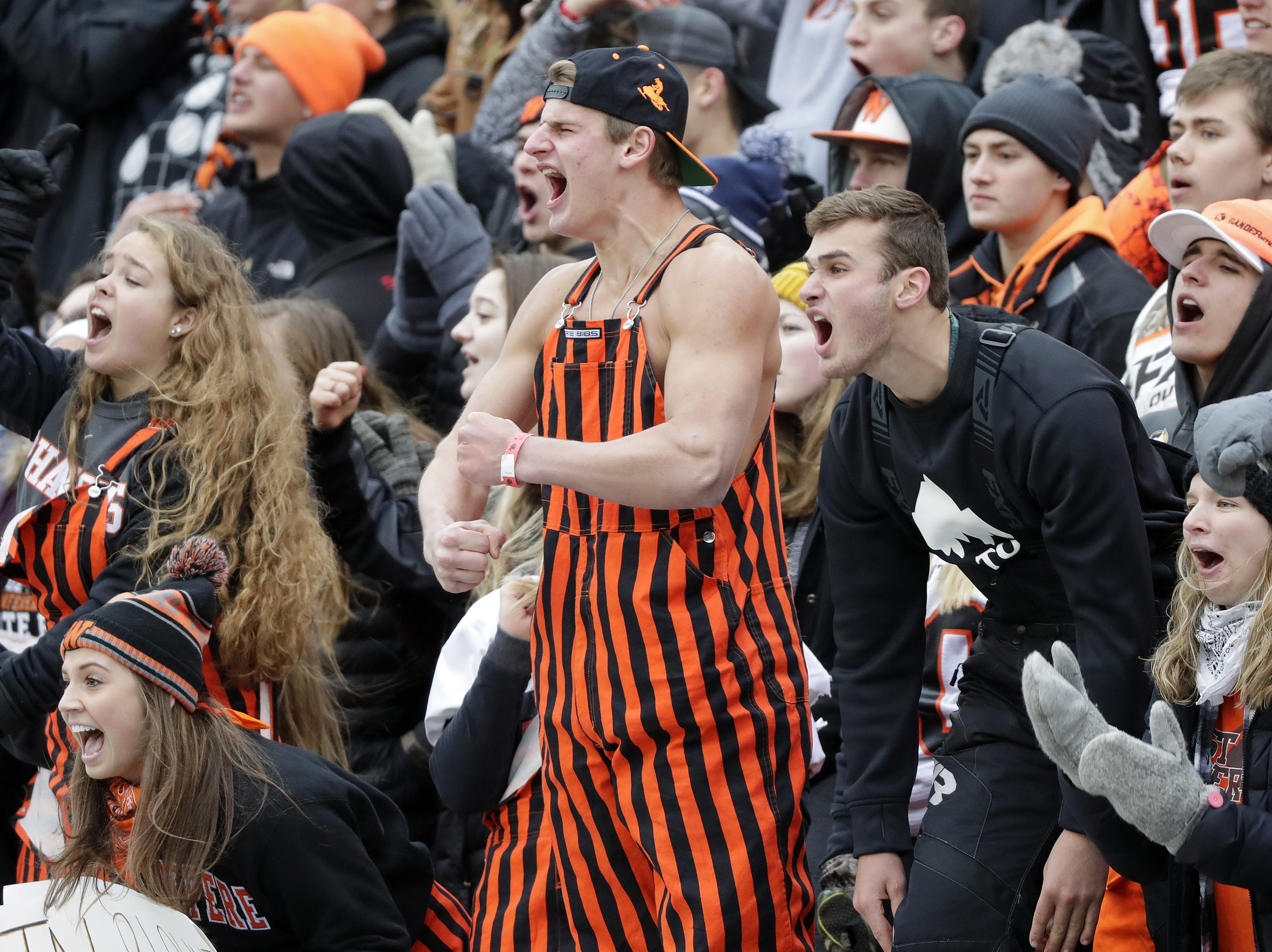 West De Pere students cheer during the WIAA Division 3 championship game at Camp Randall Stadium on Friday, November 16, 2018 in Madison, Wis.