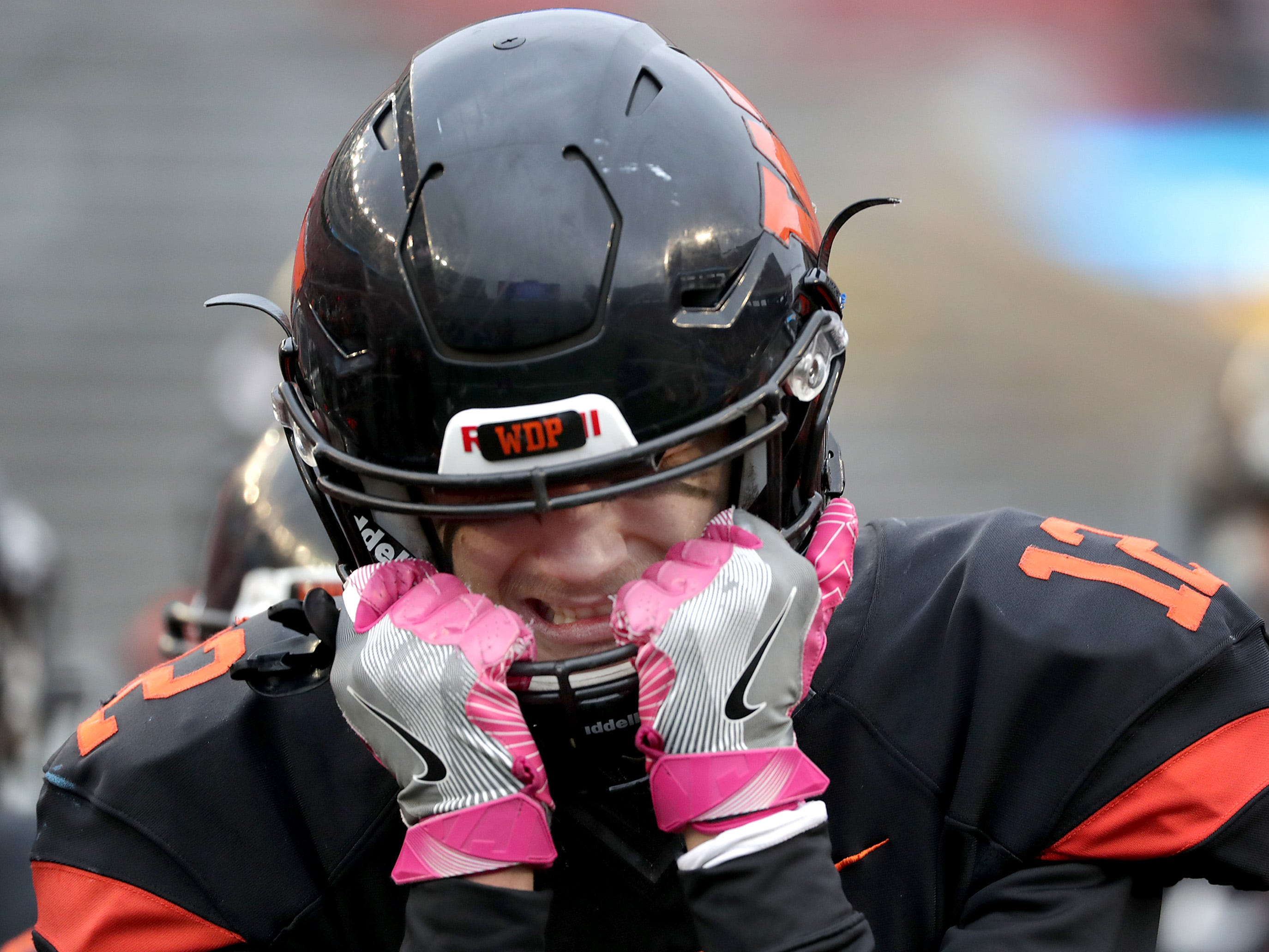 West De Pere High School's #12 John Edinger reacts after the Phantom's loss to Catholic Memorial High School during the WIAA Division 3 state championship football game on Friday, November 16, 2018, at Camp Randall in Madison, Wis. Wm. Glasheen/USA TODAY NETWORK-Wisconsin.