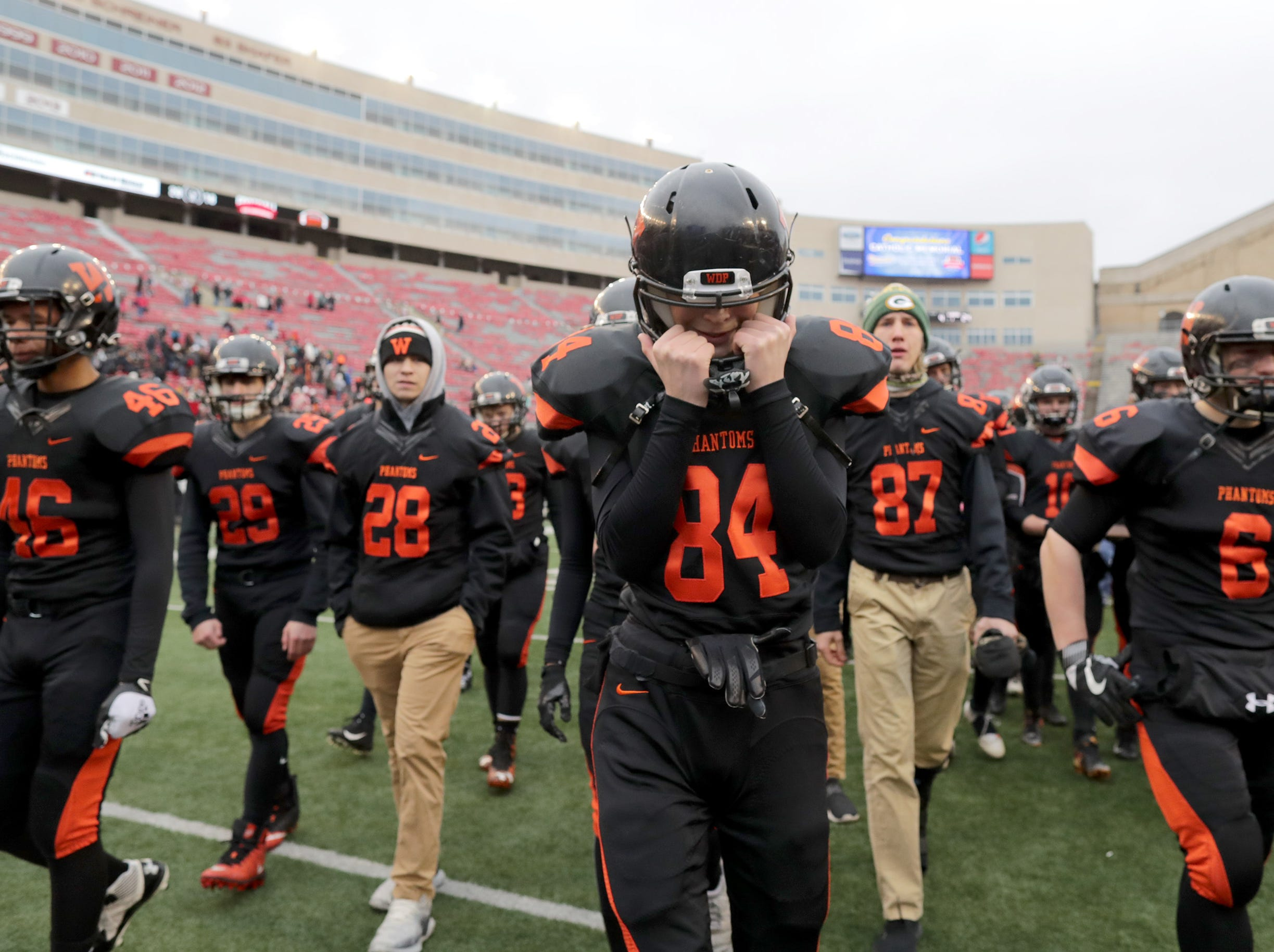 West De Pere High School's #84 Alex Martin reacts after the Phantom's loss to Catholic Memorial High School during the WIAA Division 3 state championship football game on Friday, November 16, 2018, at Camp Randall in Madison, Wis. Wm. Glasheen/USA TODAY NETWORK-Wisconsin.