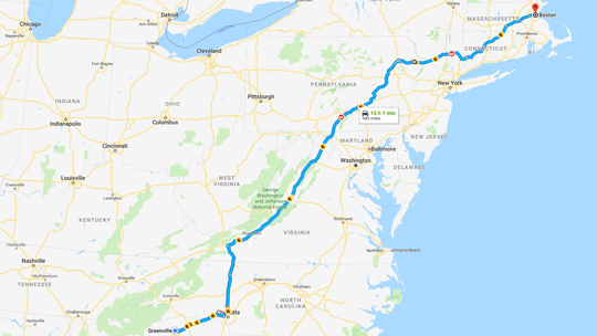 A screen shot from Google Maps showing the route from Greenville to Boston using I-81 and I-84.