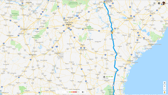 A screenshot from Google Maps showing an alternate route from Greenville to Florida using U.S. 25 and U.S. 301.