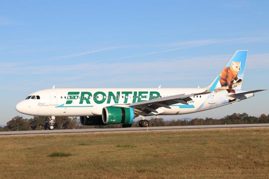 A Frontier Airlines flight lands at Greenville-Spartanburg International Airport on Friday, Nov. 15, 2018. The airline now offers service to Tampa from GSP.