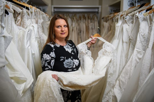 Vikki Slavin of Poinsett Bride poses for a portrait in her bridal business on Monday, Nov. 12, 2018.
