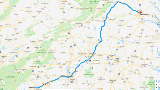 A screen shot from Google Maps shows an alternate route from Greenville to Richmond using U.S. 29 and I-64.