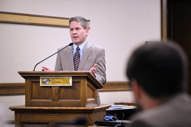 Montana Secretary of State Corey Stapleton testifies Tuesday, Nov. 13, 2018, before the State Administration and Veteran Affairs Committee at the State Capitol in Helena. Stapleton is scheduled to testify before a legislative committee about two contracts his office awarded to a former Republican Party chairman and his wife.