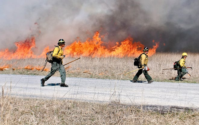 FILE - In this March 8, 2018 file photo, National Park firefighters start to run to keep ahead of a controlled burn near the Abrahms Fall trail head in Cades Cove in the Great Smoky Mountains National Park, Tenn. Creating fire buffers between housing and dry grasslands and brush and burying spark-prone power lines underground would give people a better chance of surviving wildfires, experts say. So would controlled burns, a proven, historic practice that has been neglected in recent decades. (Tom Sherlin/The Daily Times via AP, File)