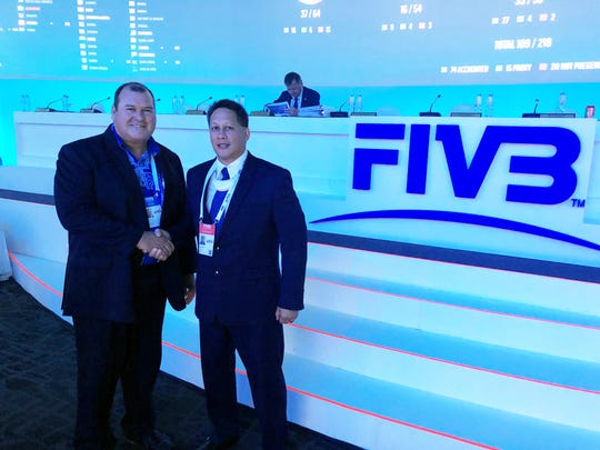 Newly elected Oceania Zone Volleyball Association president Hugh Graham with Guam Volleyball Federation president Herman Ada. Ada was also elected as vice president of Oceania's western zone, which covers 10 island nations. The elections were held Nov. 16 at the FIVB World Congress in Cancun, Mexico.