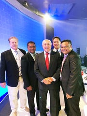 Guam Volleyball Federation president Herman Ada, at rear, was elected to serve on the Oceania Volleyball Association's executive board. Pictured from left are Terry Sasser, Secretary General/Finance Director OZVA, Alokah Sigrah FSM Federation President, Ari Gracia FIVB President, Ada, and Kenny Reklai Palau delegate.