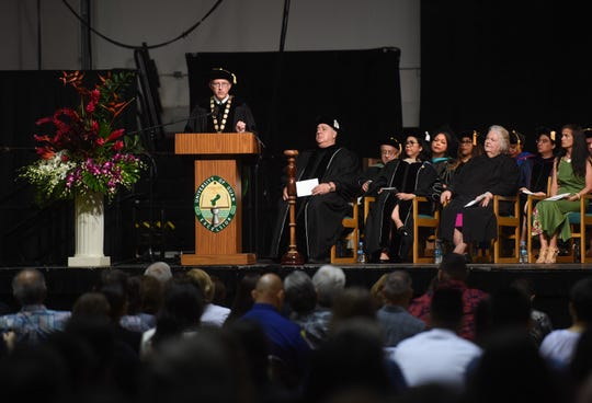 New University of Guam President Thomas W. Krise makes a speech during his investiture ceremony at the UOG Calvo Field House on Nov. 16, 2018.