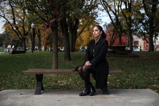 """Samantha Lozano, a legislative assistant for Indiana House Democrats, poses for a portrait in downtown Indianapolis, Thursday, Nov. 8, 2018. Lozano is one woman who has accused Attorney General Curtis Hill of inappropriate touching at a party earlier this year. """"Every day for the past six or seven months I have wished that he would just say that he's sorry,"""" Lozano said. """"That he didn't mean it or that maybe he acknowledges that he acted in an inappropriate way, but that he's sorry and he's never going to do it again. Every single day."""""""