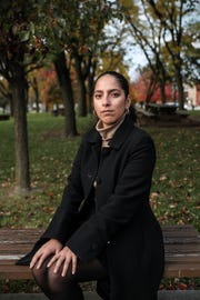 "Samantha Lozano, a legislative assistant for Indiana House Democrats, poses for a portrait in downtown Indianapolis, Thursday, Nov. 8, 2018. Lozano is one woman who has accused Attorney General Curtis Hill of inappropriate touching at a party earlier this year. ""I do in my heart believe I did nothing wrong and I have no reason to feel shame,"" Lozano said. ""I believe that's the main reason I'm not anonymous anymore because I don't have to carry that guilt or that shame."""