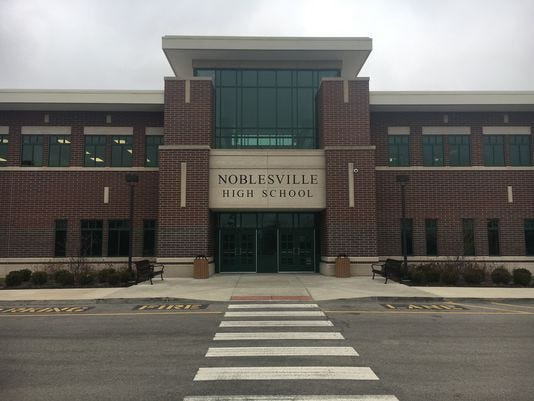 The entrance to Noblesville High School in Noblesville, Ind.