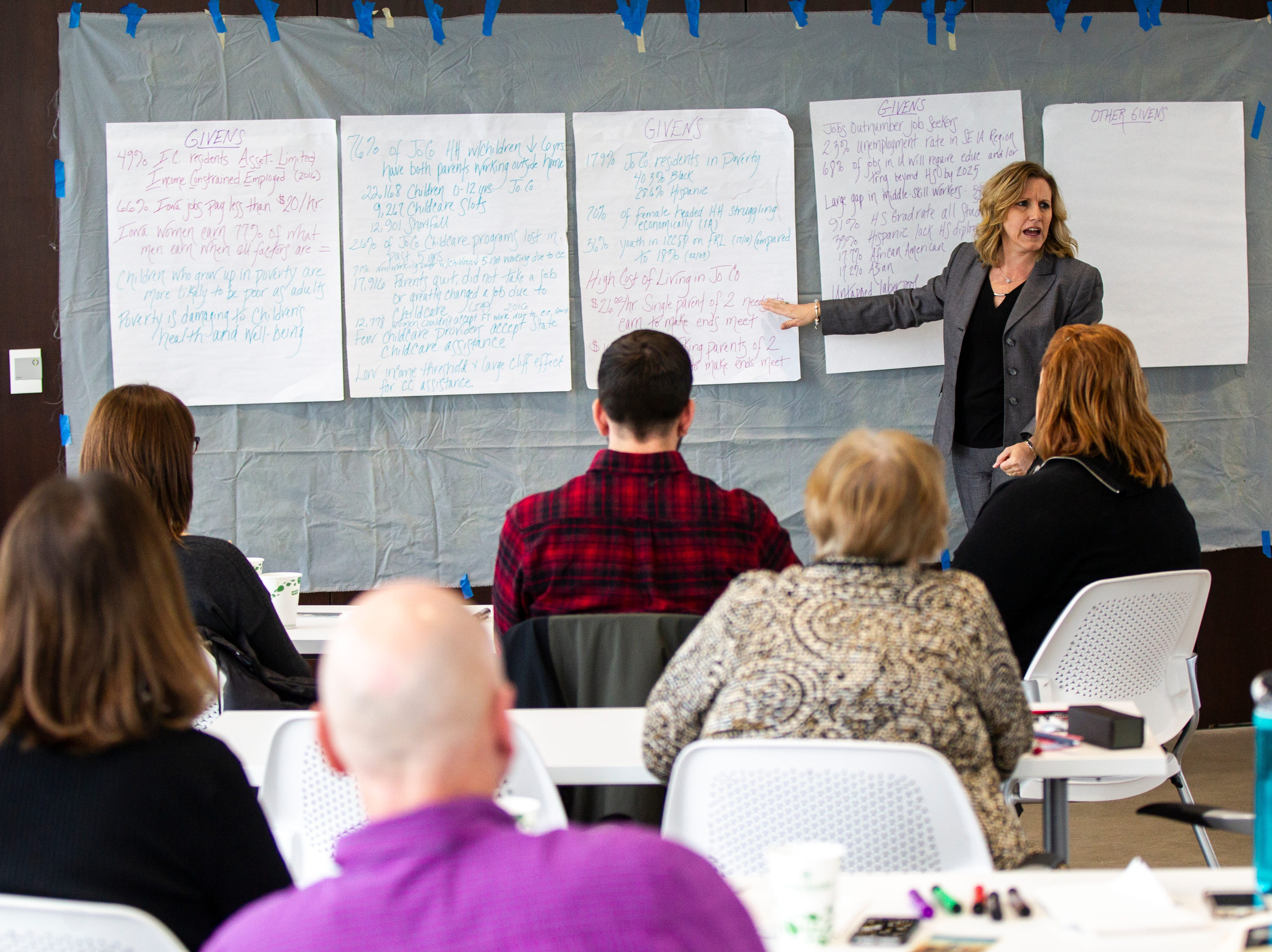 Lynette Jacoby speaks to representatives from groups in Johnson County attend a working group addressing the state of poverty in the county on Friday, Nov. 16, 2018, on the fifth floor Penthouse Room at MidWestOne Bank in Iowa City.
