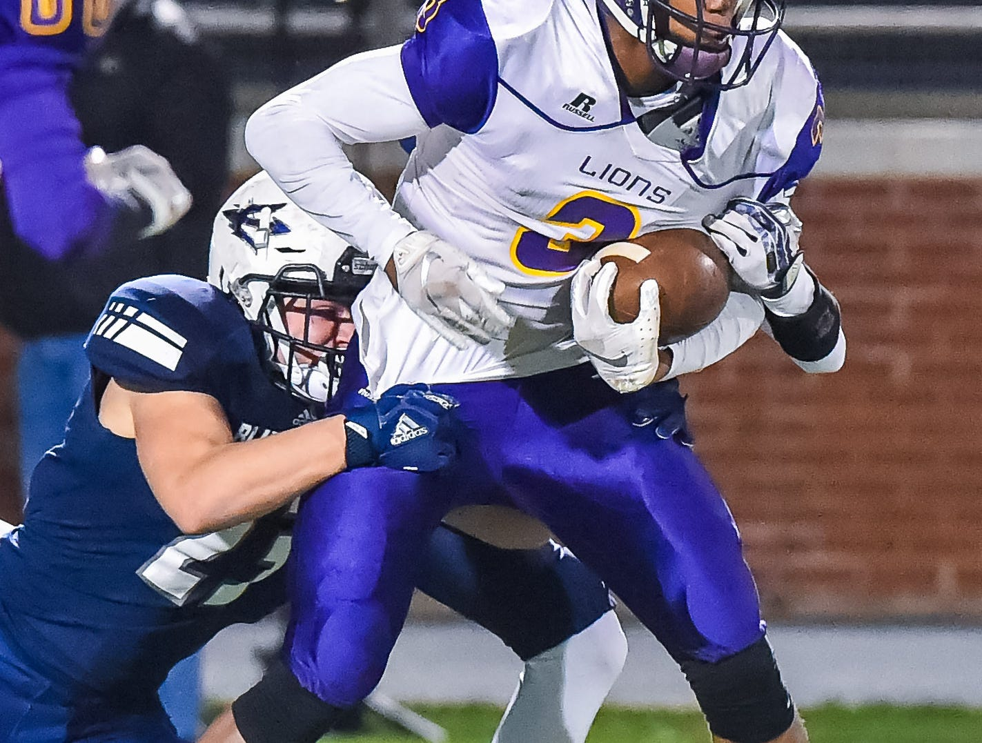Union Christian's (3) Kris Evans (3) against tries to shake a tackle against Tunica during the MAIS Class A Championship Football game held at Jackson Academy in Jackson, MS, Thursday November 15, 2018.(Bob Smith-For The Clarion Ledger)