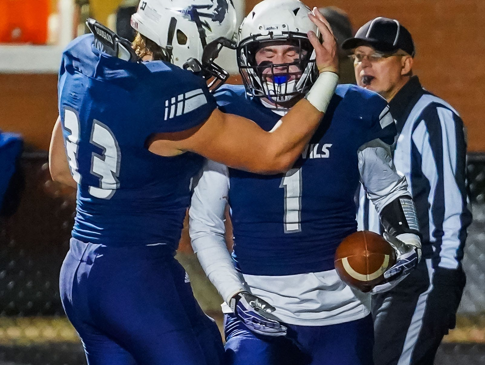 Tunica's Jake Wade (1) is congratulated by Elijah Magee (33) following a touchdown against Union Christian during the MAIS Class A Championship Football game held at Jackson Academy in Jackson, MS, Thursday November 15, 2018.(Bob Smith-For The Clarion Ledger)