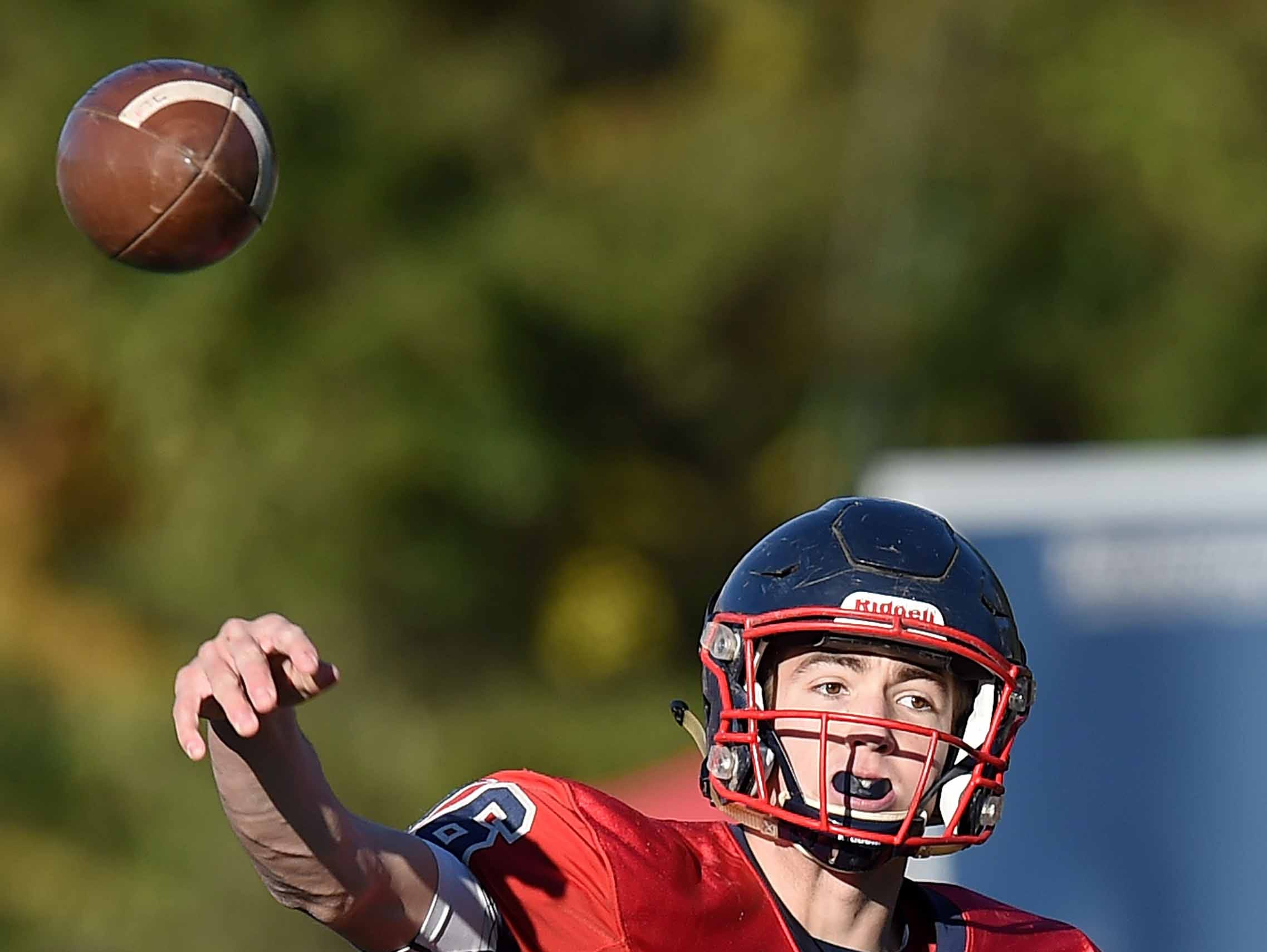 Lamar School's Joseph Hutchinson (16) throws against Simpson Academy on Thursday, November 15, 2018, in the MAIS Class AAAA-D2 Football Championship at Jackson Academy in Jackson, Miss.