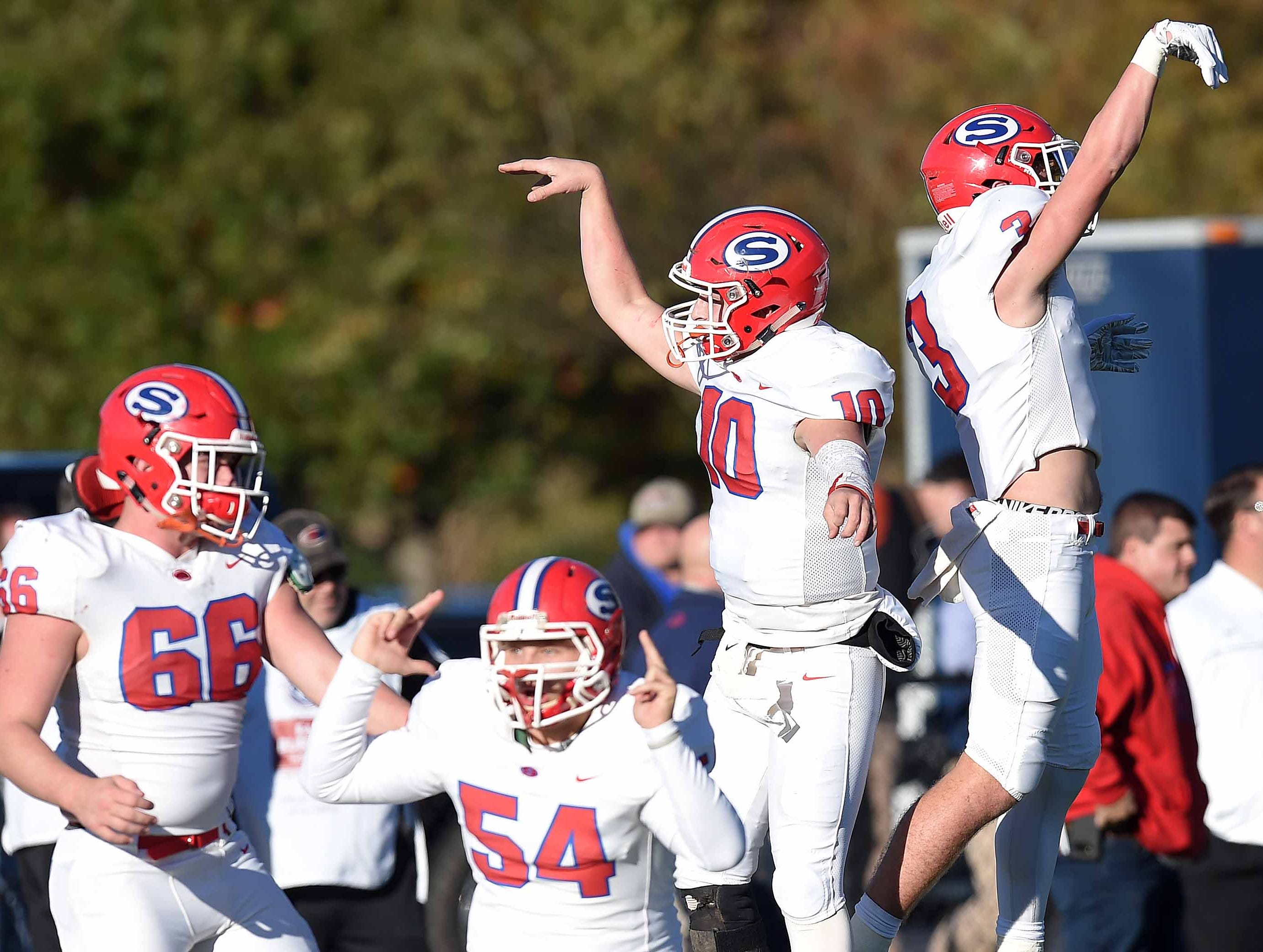 Simpson Academy celebrates a touchdown against Lamar School on Thursday, November 15, 2018, in the MAIS Class AAAA-D2 Football Championship at Jackson Academy in Jackson, Miss.