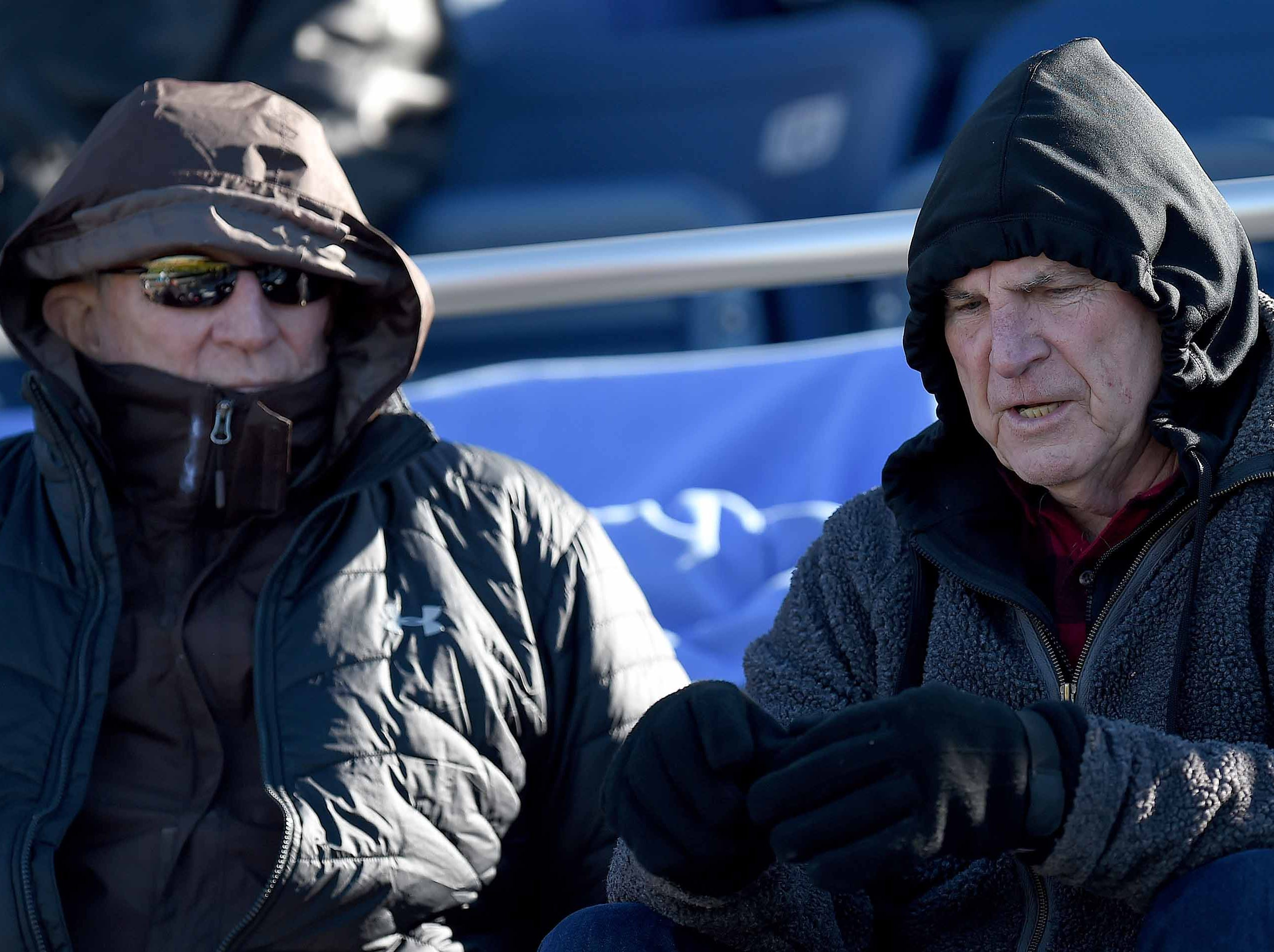Fans bundled up against the chilly weather on Thursday, November 15, 2018, in the MAIS Class AAAA-D2 Football Championship at Jackson Academy in Jackson, Miss.