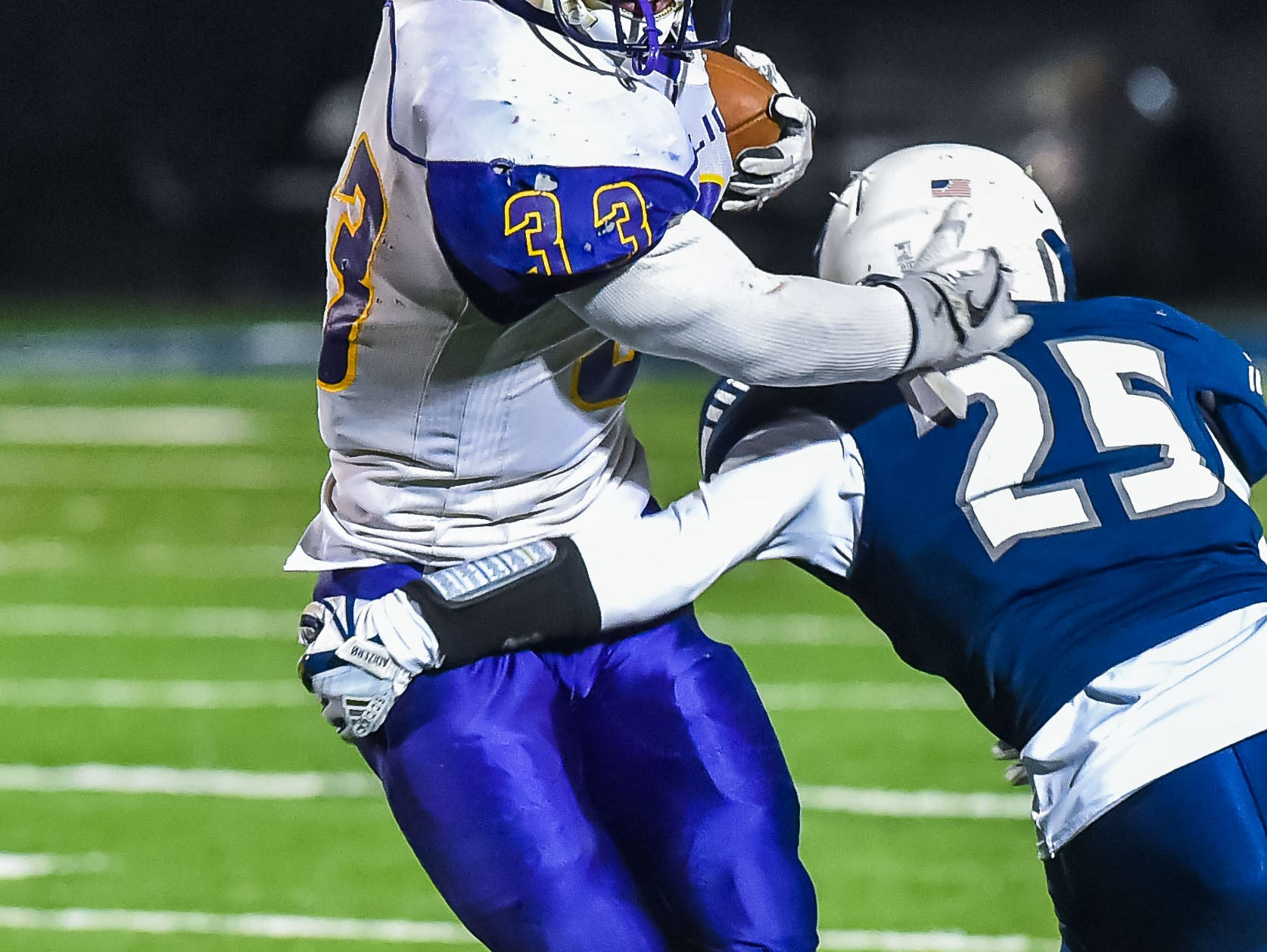 Union Christian's Nick Evans (33) breaks a tackle against Tunica during the MAIS Class A Championship Football game held at Jackson Academy in Jackson, MS, Thursday November 15, 2018.(Bob Smith-For The Clarion Ledger)