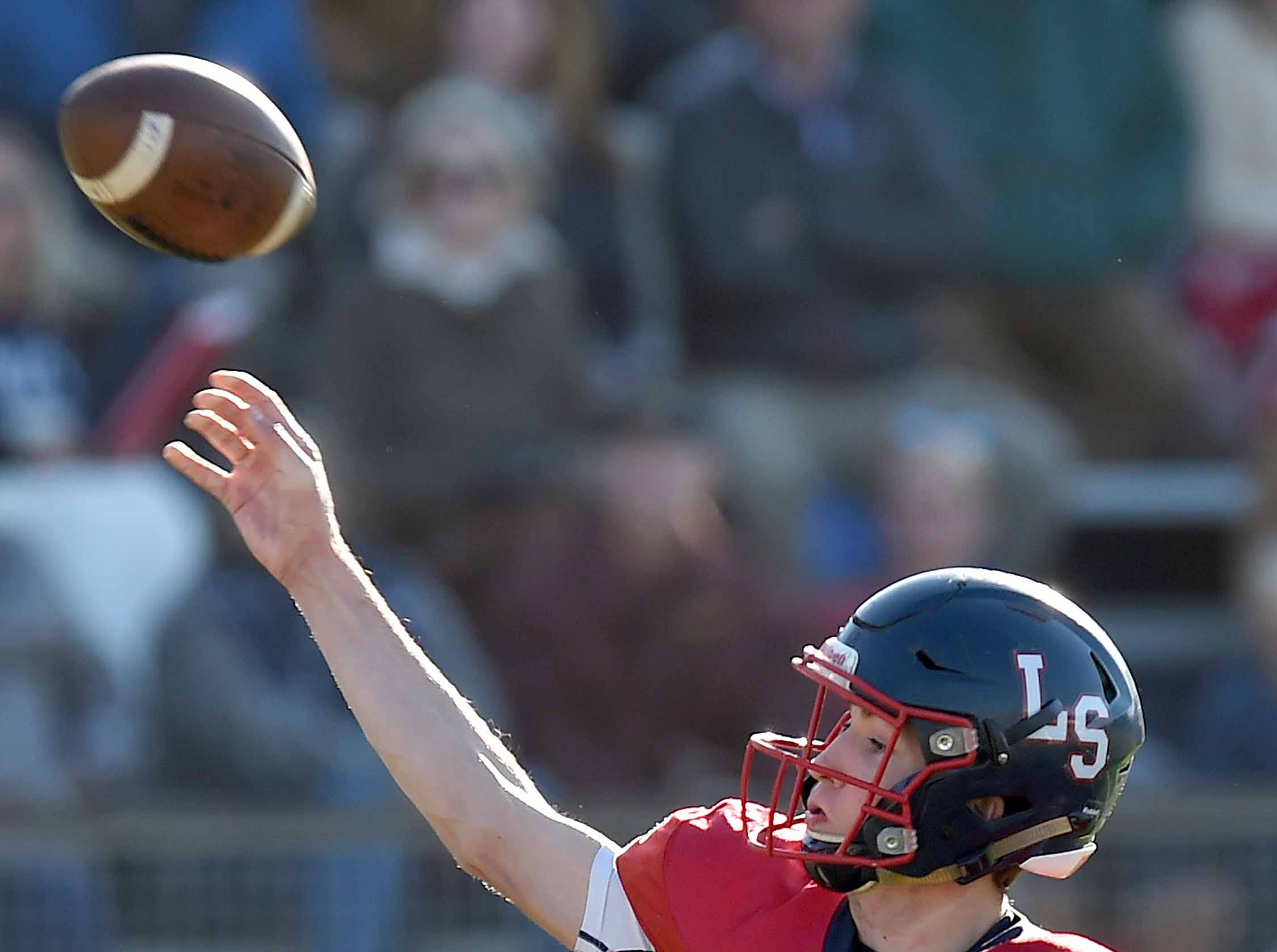 Lamar School's Joseph Hutchinson (16) throws deep against Simpson Academy on Thursday, November 15, 2018, in the MAIS Class AAAA-D2 Football Championship at Jackson Academy in Jackson, Miss.