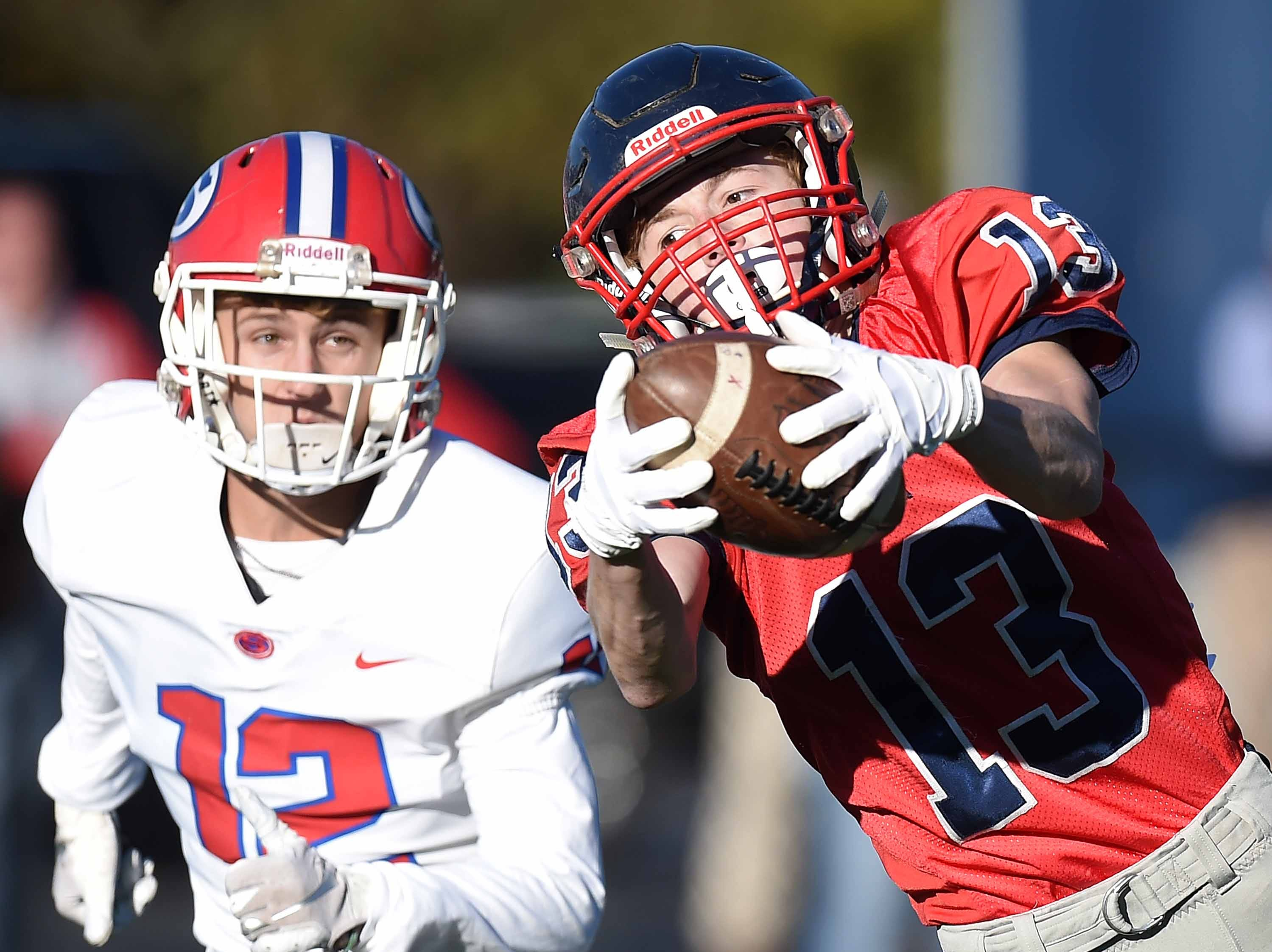 Lamar School's Jacob Partridge (13) catches a deep pass against Simpson Academy on Thursday, November 15, 2018, in the MAIS Class AAAA-D2 Football Championship at Jackson Academy in Jackson, Miss.