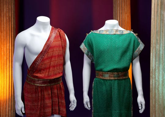 Some 'Star Trek' costumes worn by Spock and Kirk in the 'Plato's Stepchildren' episode