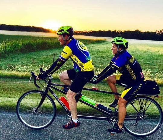 Jeffrey and Melissa Price stay active by cycling together - sometimes on the same bike.