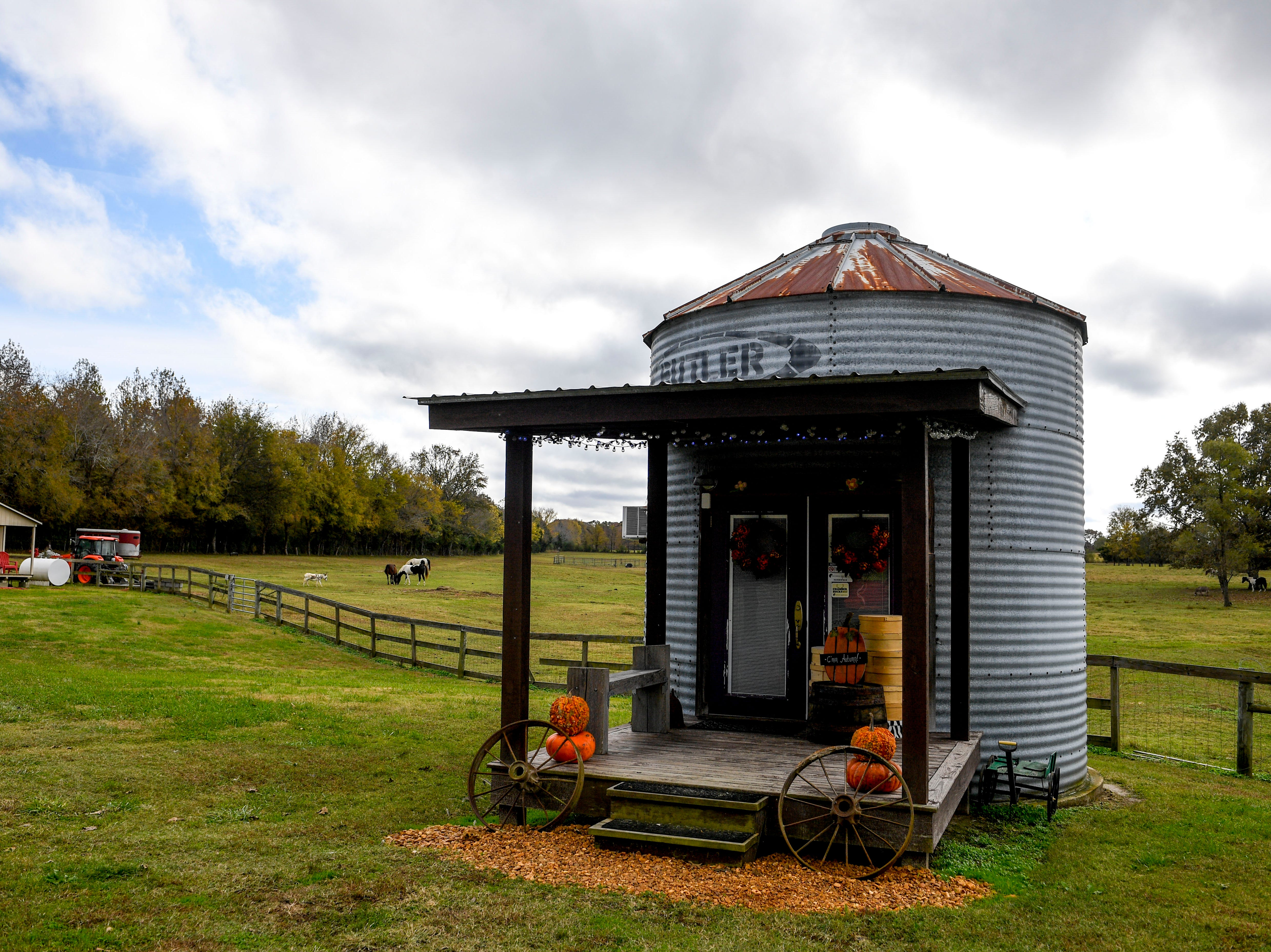 A cylindrical building where Valeria Pitoni sells her various lotions, soaps, and care products stands at the edge of a pasture at Stillwaters Farm in Henderson, Tenn., on Monday, Nov. 5, 2018.
