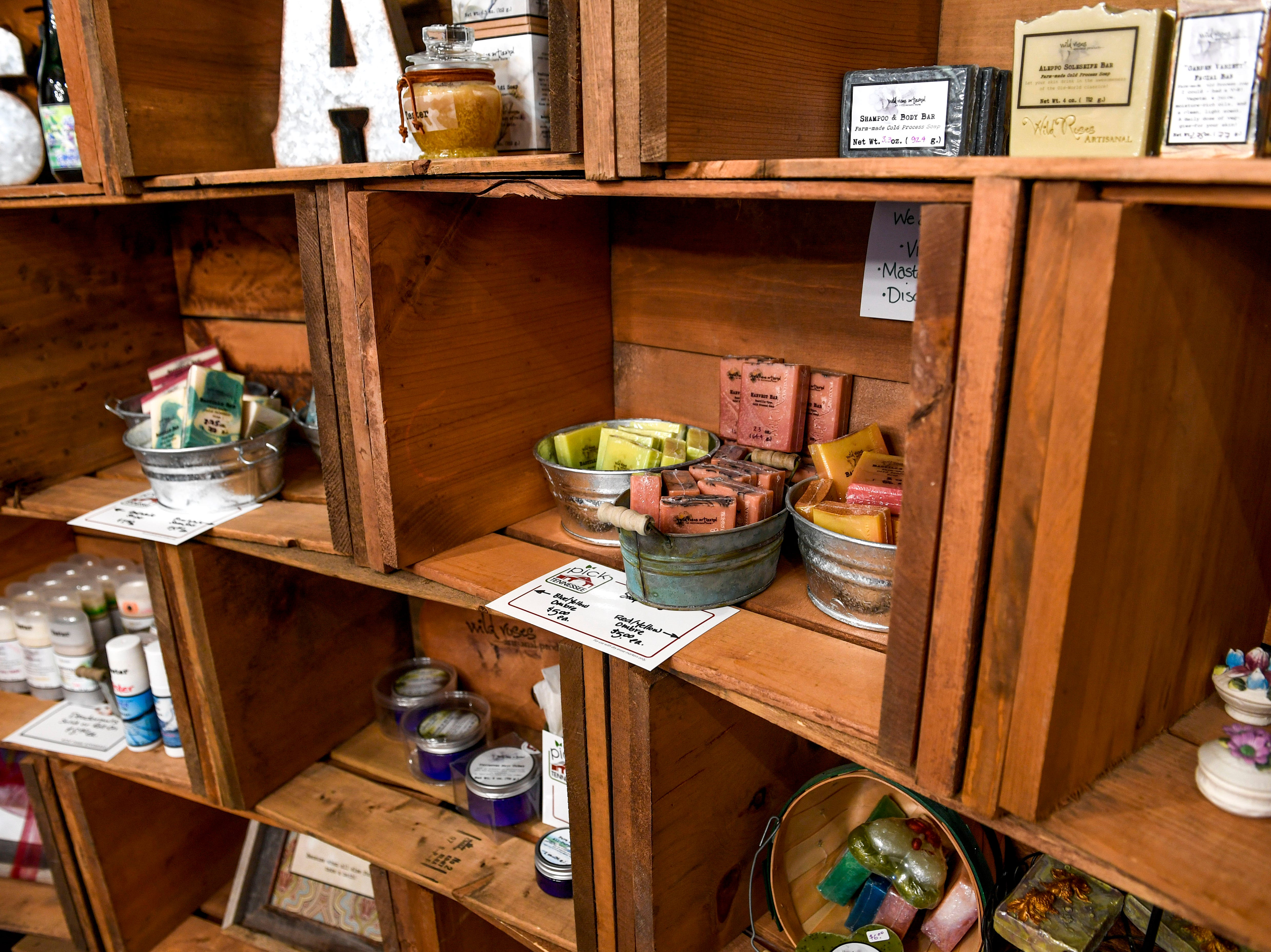 Products created by Valeria Pitoni are show on display in her small shop at Stillwaters Farm in Henderson, Tenn., on Monday, Nov. 5, 2018.