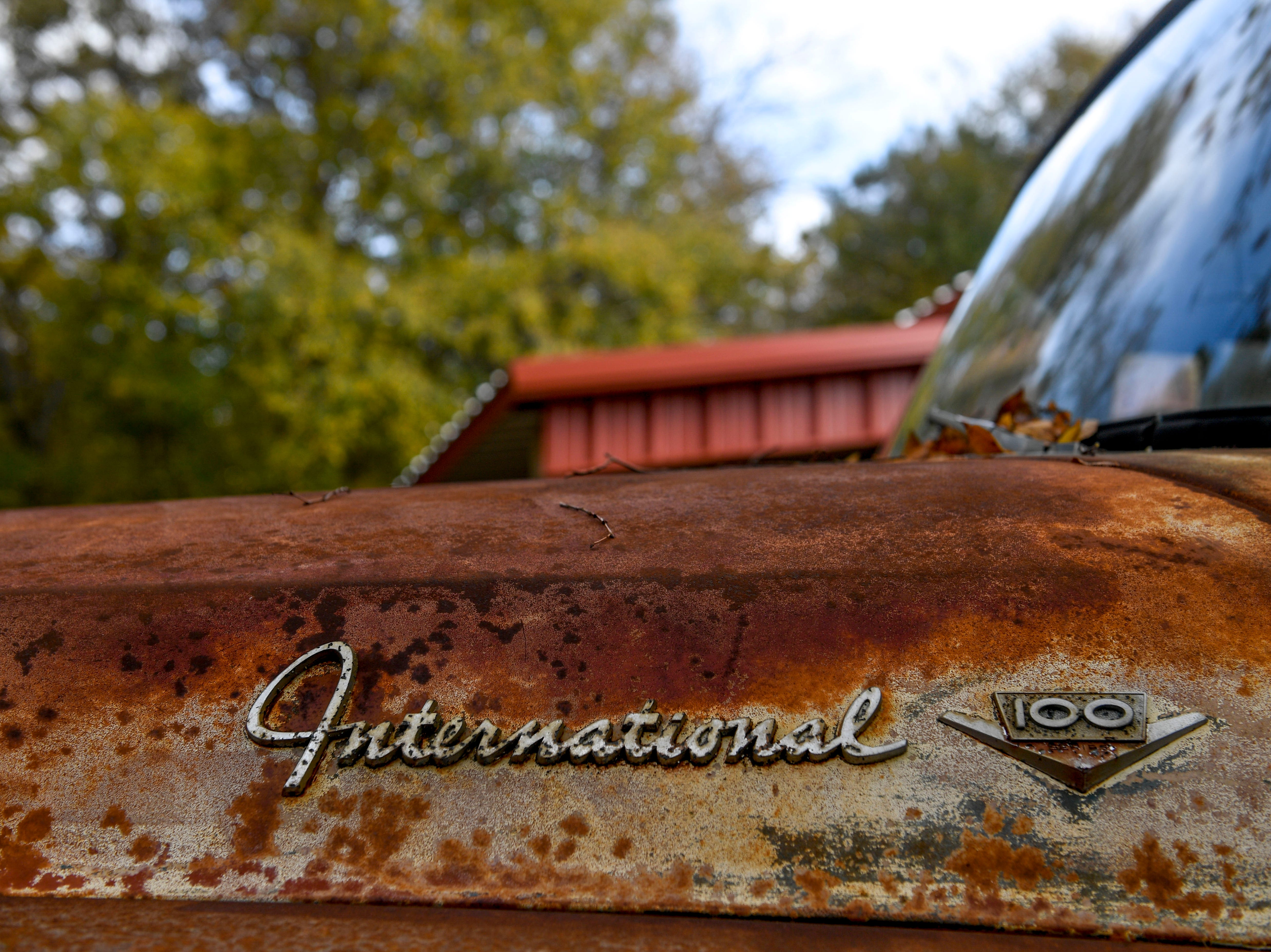 The logo of an International pickup covered in a beautiful rust layer as shown at Stillwaters Farm in Henderson, Tenn., on Monday, Nov. 5, 2018.