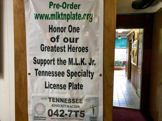 The MLK Tennessee license plate banner. Nov 15, 2018, Whiteville, TN.