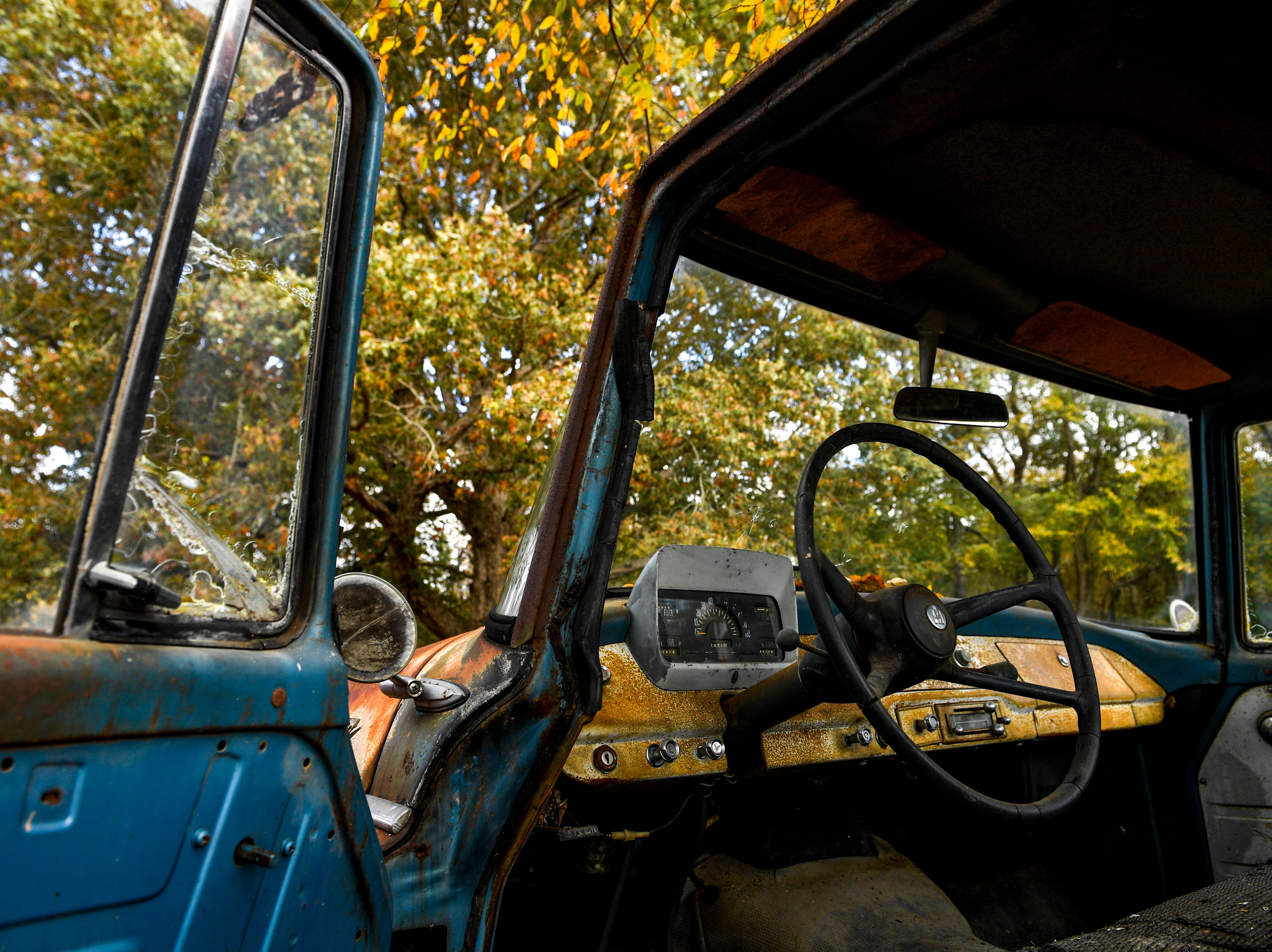The interior of an International truck as shown at Stillwaters Farm in Henderson, Tenn., on Monday, Nov. 5, 2018.