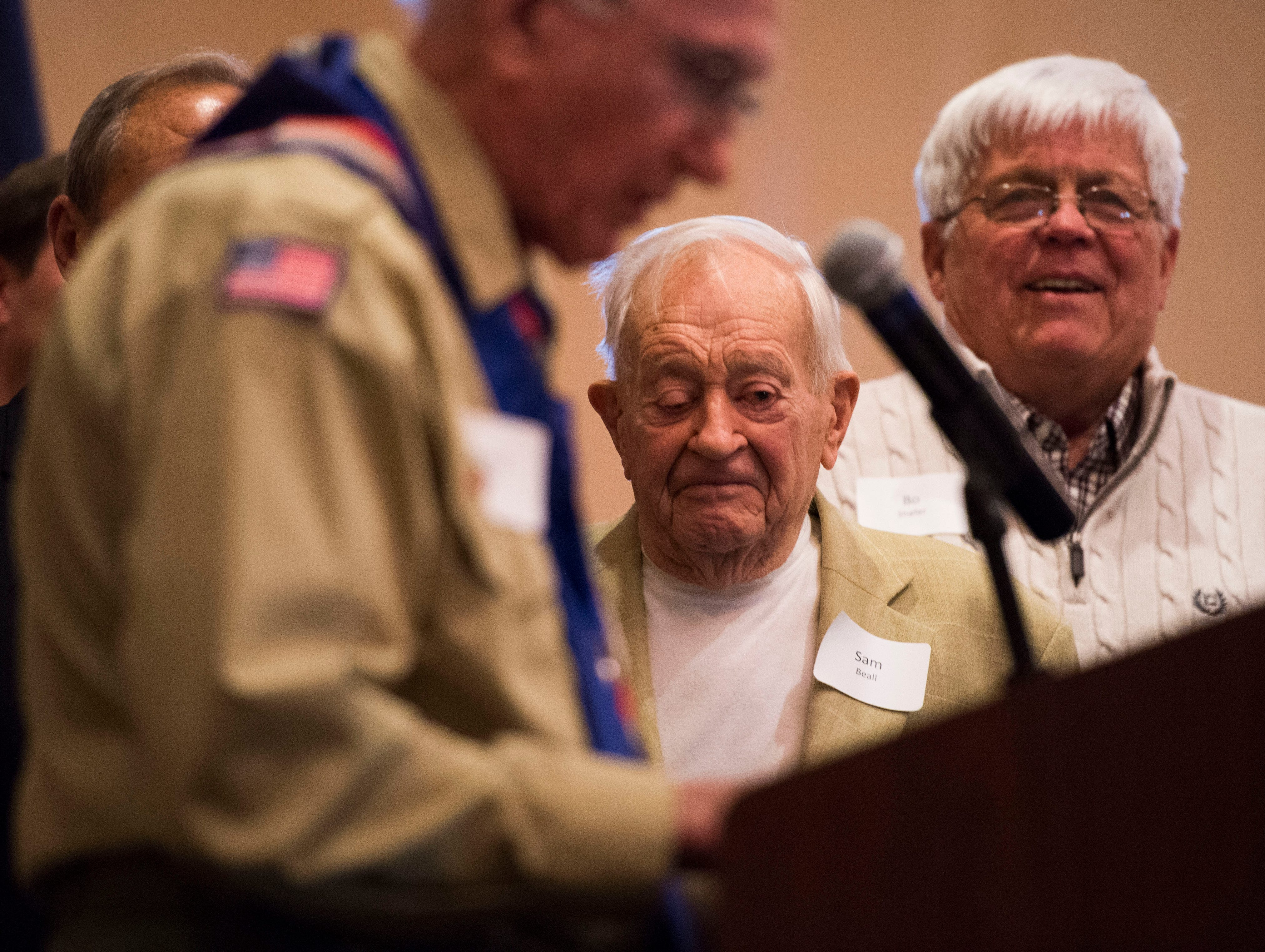 At center Sam Beall stands on stage at the 2018 Eagle Scout gathering held at Hotel Knoxville Thursday, Nov. 15, 2018. Beall received the Silver Beaver award, which is the highest award in scouting.