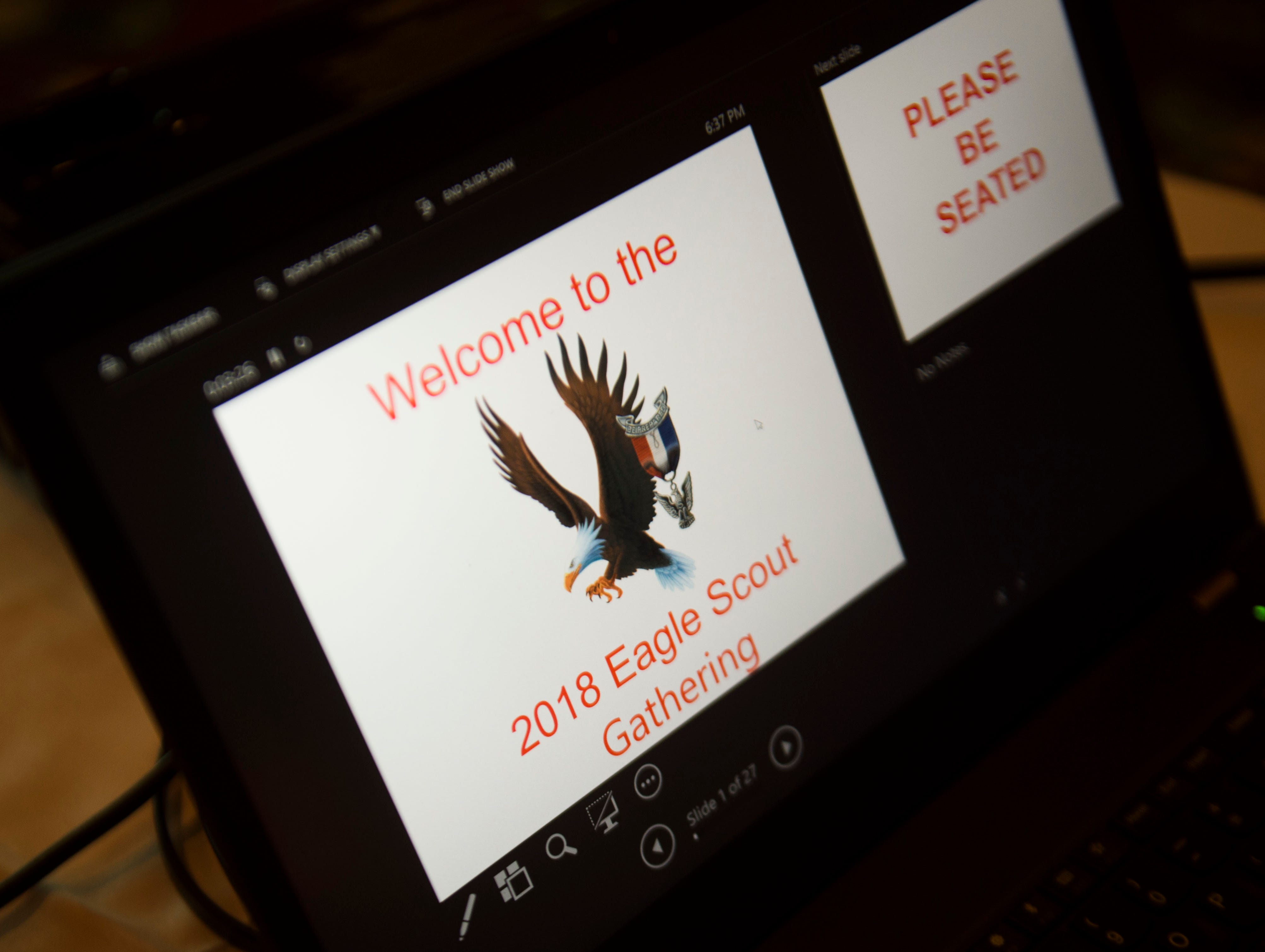 A computer at the 2018 Eagle Scout gathering held at Hotel Knoxville Thursday, Nov. 15, 2018. Sam Beall received the Silver Beaver award at the event, which is the highest award in scouting.
