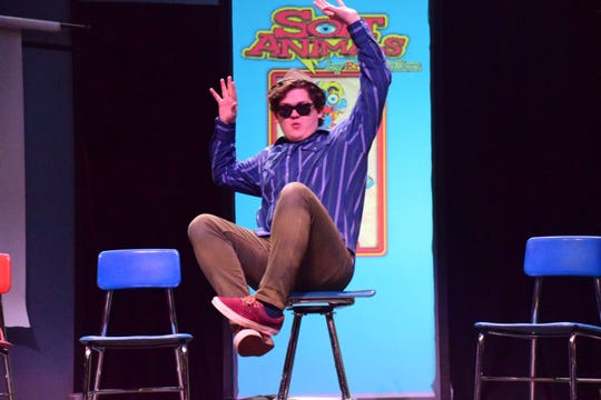 """Jacob (Kyle Walton) playfully finds his favorite seat for a workshop during """"Soft Animals,"""" a play at Pellissippi State Community College Sunday, Nov. 11."""