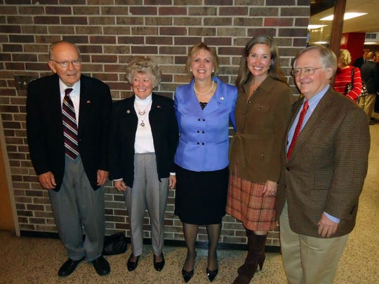 Five former state senators from Knox County: Ben Atchley, Sue Atchley, Becky Massey, Jamie Woodson and Victor Ashe. Only four women have ever represented Knox County in the state Senate, and three of them are in the picture. The one missing is Martha Ashe, who was the first woman to represent Knox County and died in 2004.