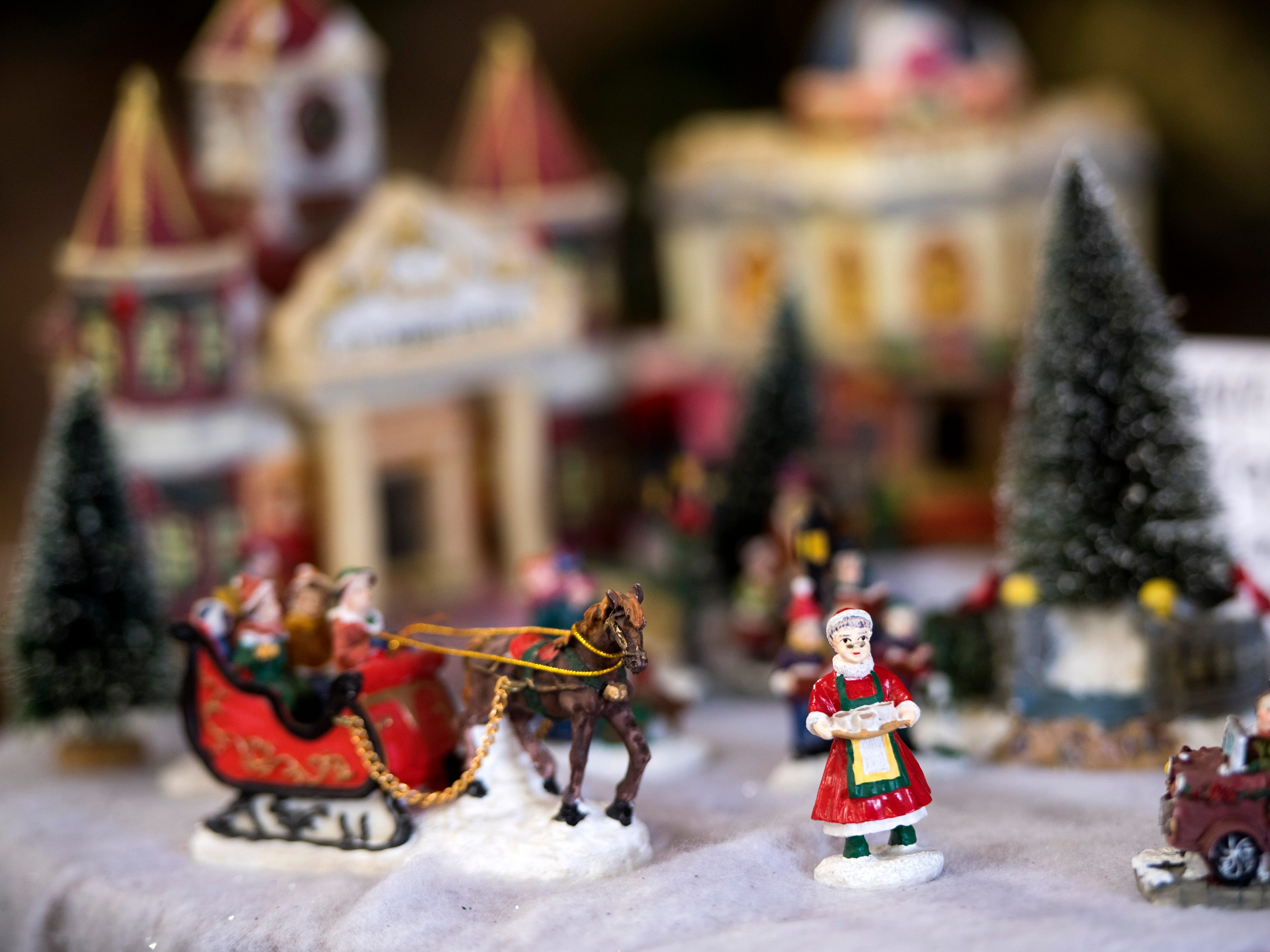 Christmas figurines for sale at the KARM Christmas Store located at 9629 Parkside Drive in Knoxville on Tuesday, November 13, 2018.