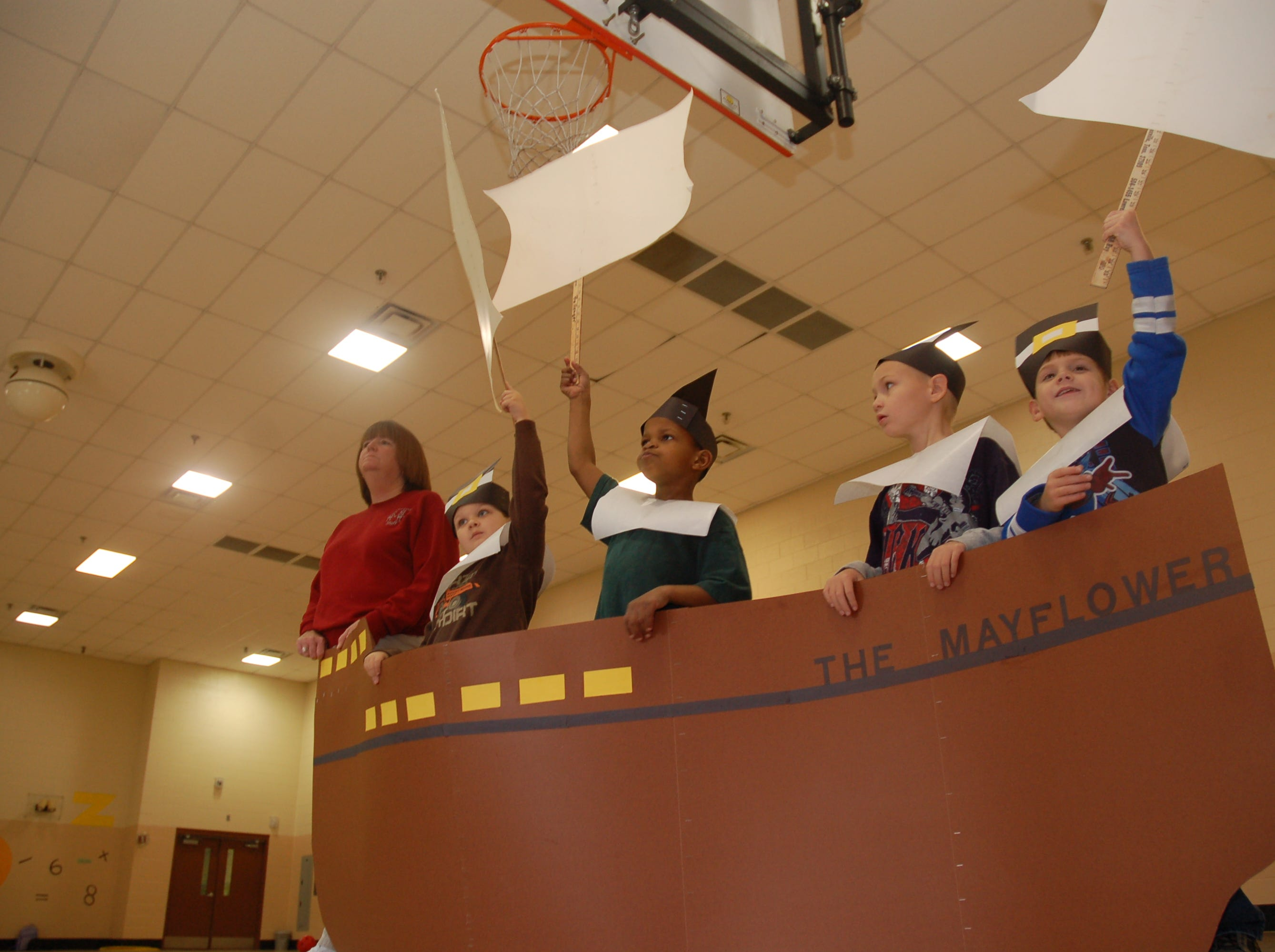 """Pilgrims, indians and turkeys are all on stage Monday, Nov. 22, 2010, during rehearsal for the Dogwood Elementary play, """"Hooray for Thanksgiving,'' which will be performed in the school's gymnasium."""