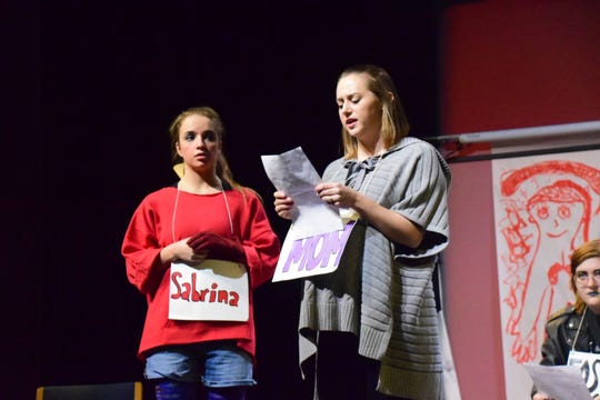 """Sabrina (Peyton Southworth) works out her mother issues with Dr. Rebecca Stinger (Abby Reber) during """"Soft Animals,"""" a play at Pellissippi State Community College Sunday, Nov. 11."""