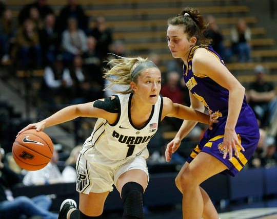 Karissa McLaughlin of Purdue gets a step on Elizabeth Lutz of Western Illinois Thursday, November 15, 2018, at Mackey Arena. Purdue defeated Western Illinois 81-60.