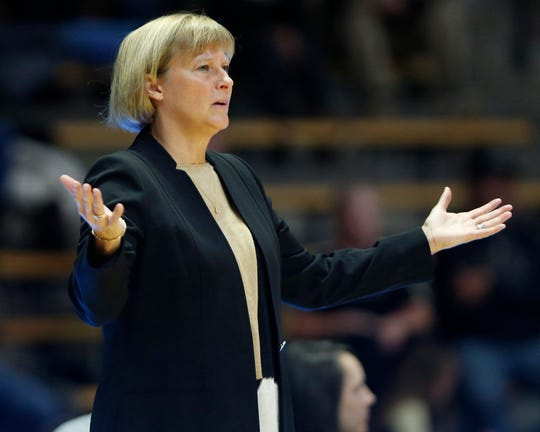 Purdue head coach Sharon Versyp questions an offensive foul call against Dominique Oden in the second half against Western Illinois Thursday, November 15, 2018, at Mackey Arena. Purdue defeated Western Illinois 81-60.